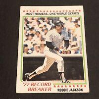 1978 Topps #7 New York Yankees Reggie Jackson Record Breaker! EX+ No Reserve!