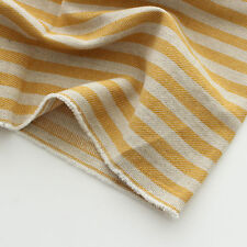 "Cotton Linen Fabric mustard yellow stripe by the Yard 44"" cozy yellow stripe"