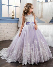 Neu Lila Weiß Blumenmädchen Kleid Mädchen Kinder Prinzessin Kommunion Kleid