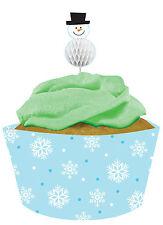 12 X Noël Emballages Cupcake & Piques Flocon de Neige Boites à Gâteau & Bonhomme