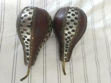 Vintage Pair of Decorative Wood Pears w Metal Embellishment Design / Home Decor
