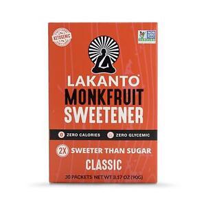 Lakanto Monkfruit Sweetener Natural Sugar Free Substitute Classic White 30-Pack