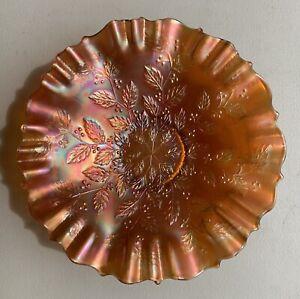 Vintage Fenton Electric Marigold Holly Carnival Glass Ruffled 3/1 Edge Bowl