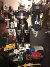 Nice Complete Power Rangers Deluxe Super Train &  Light Speed Megazords w/ Sword