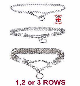 Semi Choke Chain Collar Chrome Plated Steel Training Chain 1, 2 or 3 Rows New