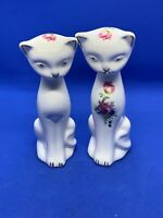 Pair Lot 2 Staffordshire China Cats Kittens Flowers Figurines England