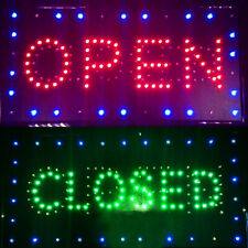 "Us Led Open Closed Store Restaurant Business Closed Lighted Sign 9x20"" neon Good"
