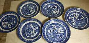 Lot of 6 House Of Blue Willow Semichina - Butter or salad plates  FREE SHIPPING