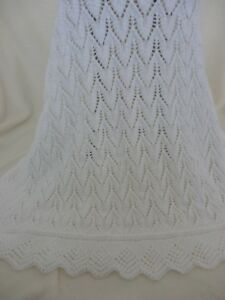 Pretty New Soft White Hand Knitted Baby Shawl / Blanket