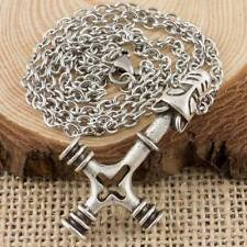 Viking Dragon Cross Thor's Hammer Pendant With 3mm Cross Chain Necklace