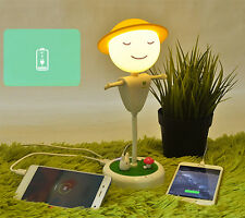 3D LED Scarecrow Night Light Power Bank USB Table Lamp Kids Fairy Gift Yellow