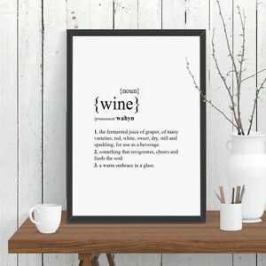 Wine Dictionary Definition Quote Print Wall Art A4 A3 A2