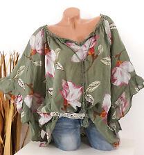 Damen Bluse Tunika Italy Spitze Blumen Trompeten Arm 42 44 46 48 50 52 oliv grün