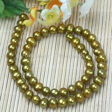 7-8mm Gold Freshwater Pearl Gem Loose Beads For Necklace Bracelet Jewellery DIY