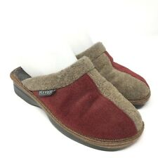 Fly Flot Womens Clogs Size 36 Wool Tan Red Comfort Slip On Shoes Mules