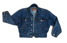 Vintage 80s Jordache Basics Boxy Cropped Dark Stone Wash Denim Jean Jacket S