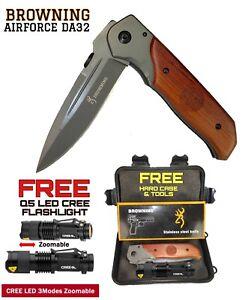 Browning DA30 Air Force Pocket Knife Hard Case FREE Q5 LED CREE Flashlight