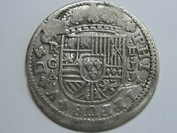 1718 CUENCA 2 REAL PHILIP V ASSAYER JJ SPANISH COLONIAL SILVER COIN SPAIN