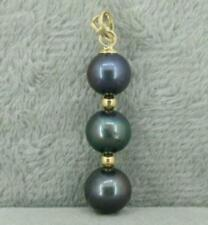 HOT 9-10MM BLACK NATURAL ROUND TAHITIAN PEARL PENDANT NECKLACE 14K GOLD