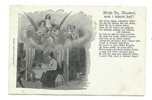 AK Weißt Du Muatterl was i träumt hab´!, Mutter bei todkrankem Kind, vor 1900