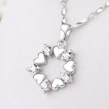 Heart Shaped Silver Plated Flower Necklace Jewelry Pendant