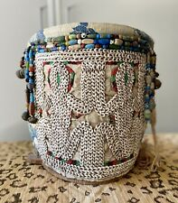 Ornate Indonesian Child Carrying Beaded Basket Vintage Papoose