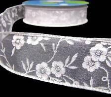 "2 Yards Iridescent Glitter Wedding White Flowers Sheer Wired Ribbon 1 1/2""W"
