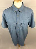 L.L. Bean Mens Short Sleeve Blue Plaid Vented Fishing Shirt Size Large