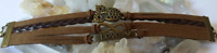 Bracelet cuir bronze breloque multi-rangs 180x20x4mm (réglable 18-21cm)