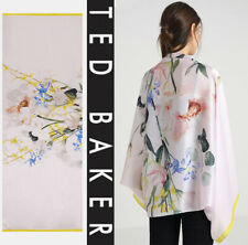 TED BAKER LONDON Emellia Elegant Floral  SILK Cape Scarf ONE SIZE Nude/Pink NEW