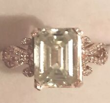 Engagement Ring 10k Solid Rose Gold 2.30Ct Emerald Cut Moissanite Real Diamonds
