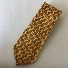 Cool HERMES Paris Silk Tie Golden Yellow Pegasus Animal Print Pattern 7348 PA