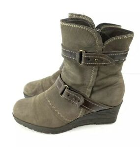 Earth Ankle Booties Knoll Womens 10 Stone Taupe Suede Leather Wedge Heel
