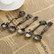 5pcs Metal Coffee Tea Spoons Kitchen Bar Vintage Royal Carved Mini Scoop Set