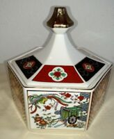 Chinese vintage Cloisonne Enamel bowl w/lid Hexagonal 6 Sided Floral & WAGONS XX