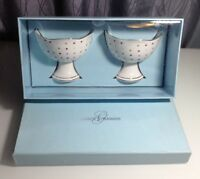 GRACE'S TEAWARE Set of 2 polka dot Gold Trim 6oz Ice Cream ceramic bowl NIB