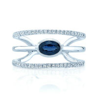 14k White Gold Oval Blue Sapphire Diamond Open Wrap Statement Ring Cocktail Wide