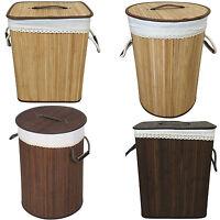 Wicker Laundry Basket Bin Storage Bamboo Hamper Basket With Linning Linen