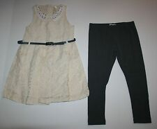 New NEXT UK Lace Belted Tunic Top & Gray Legging 2 Piece Set Size 6 Year 116cm