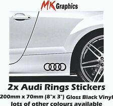 "Audi Rings Stickers 2x8"" Gloss Black A3 TT RS6 RS3 A4 R8 Quattro"
