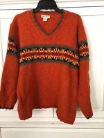 Eddie Bauer Sweater Nordic Women Medium Wool Blend Orange Native Southwest Vtg