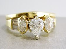 1.21 CTW Pear Diamond Engagement Ring Matching Wedding Band 14K SHANE CO $3,300+