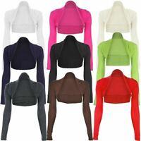 New Womens Ladies Long Sleeve Plain Bolero Shrug Cropped Jersey Top Uk 8 - 26