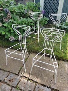 VINTAGE WROUGHT IRON PATIO CHAIRS MARTINI BACK SET OF FOUR