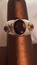 Vintage Sterling Silver 14K Gold Garnet Amethyst Citrine Ring Hand Signed Size 6