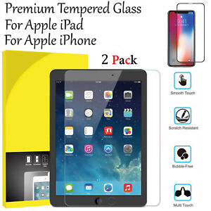 """Screen Protector For iPad 10-2"""" (2019) Anti-Shatter 2 Pack Clear Tempered Glass"""