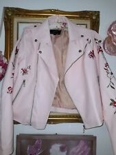 Baby Pink Floral Embroidered Pu Leather Jacket  12