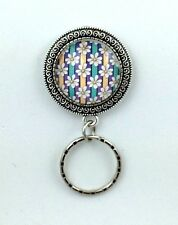 Daisies w/Purple Yellow Stripes Magnetic ID Badge Eyeglass Holder, Magnetic Pin