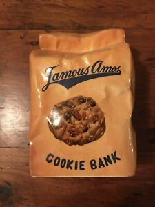 Vintage Famous Amos Ceramic Brown Bag Cookie Bank