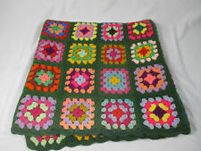 Granny Square Handmade Crochet Blanket Lap Throw Colorful Wool Blend Scallop